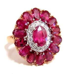 AIGS Certified 4.70ct Natural Ruby Diamonds cluste